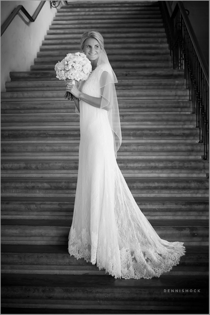 full length of beautiful LDS Bride on the stairs in Balboa Park