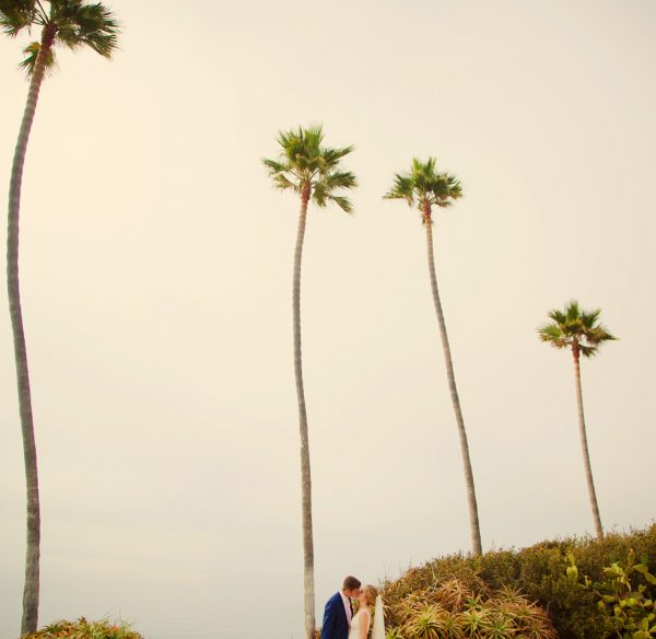 bride and groom kiss with palms tress and the pacific ocean