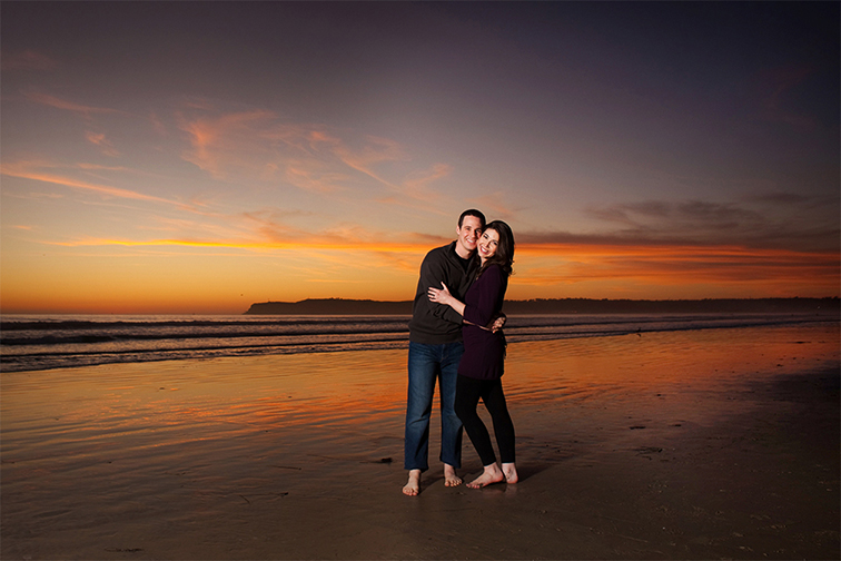 Amazing sunset with engaged couple shoot at the Hotel del Coronado