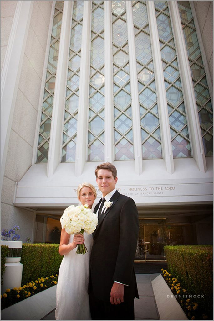 modern wedding couple at LDS Temple in La Jolla CA by Dennis Mock Photography