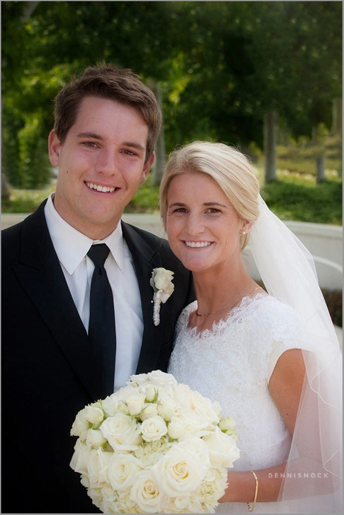 portrait of bride and groom at LDS Temple La Jolla California