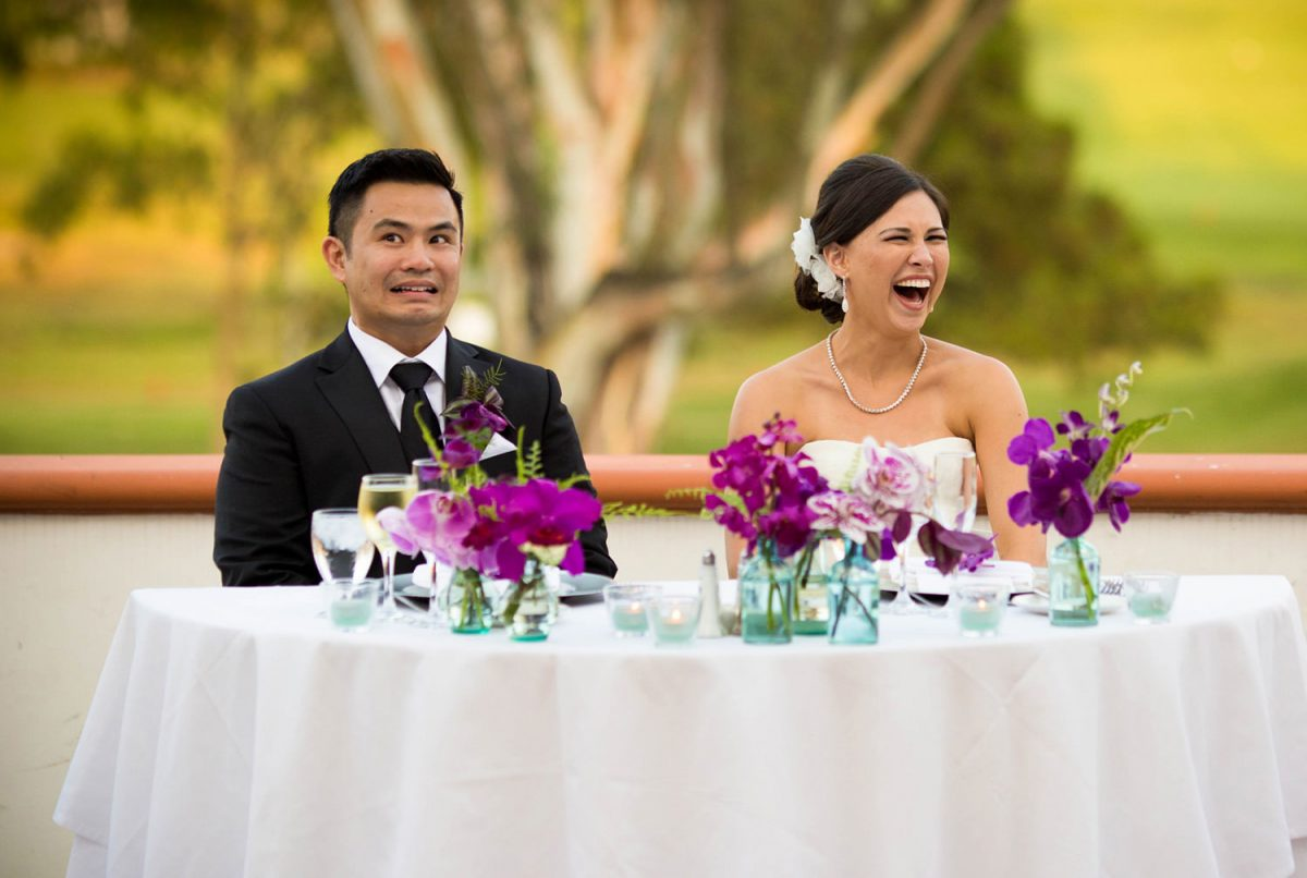 wedding couple reacted to funny toast at their San Diego wedding