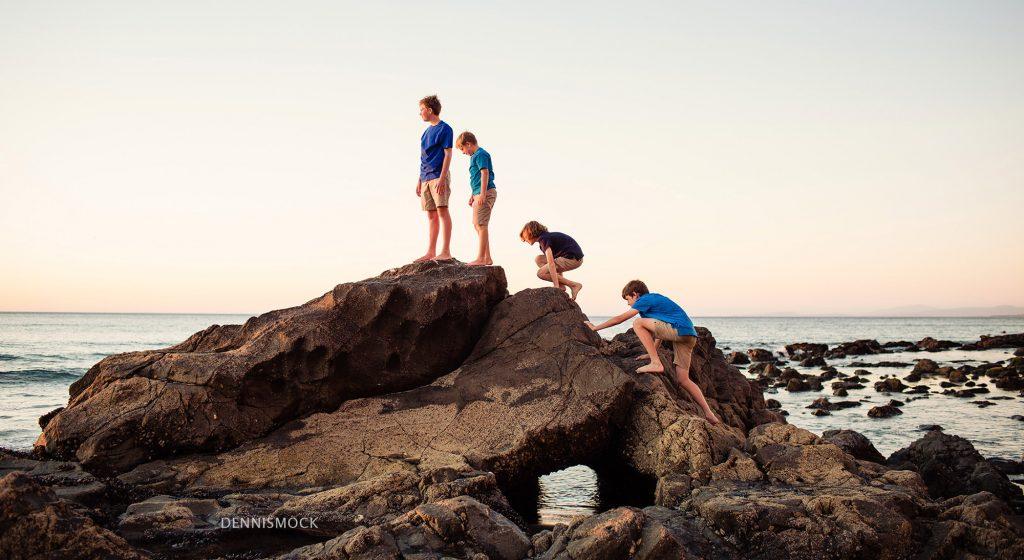 Boys exploring low tide at La Jolla Family portrait shoot with Dennis mock photographer