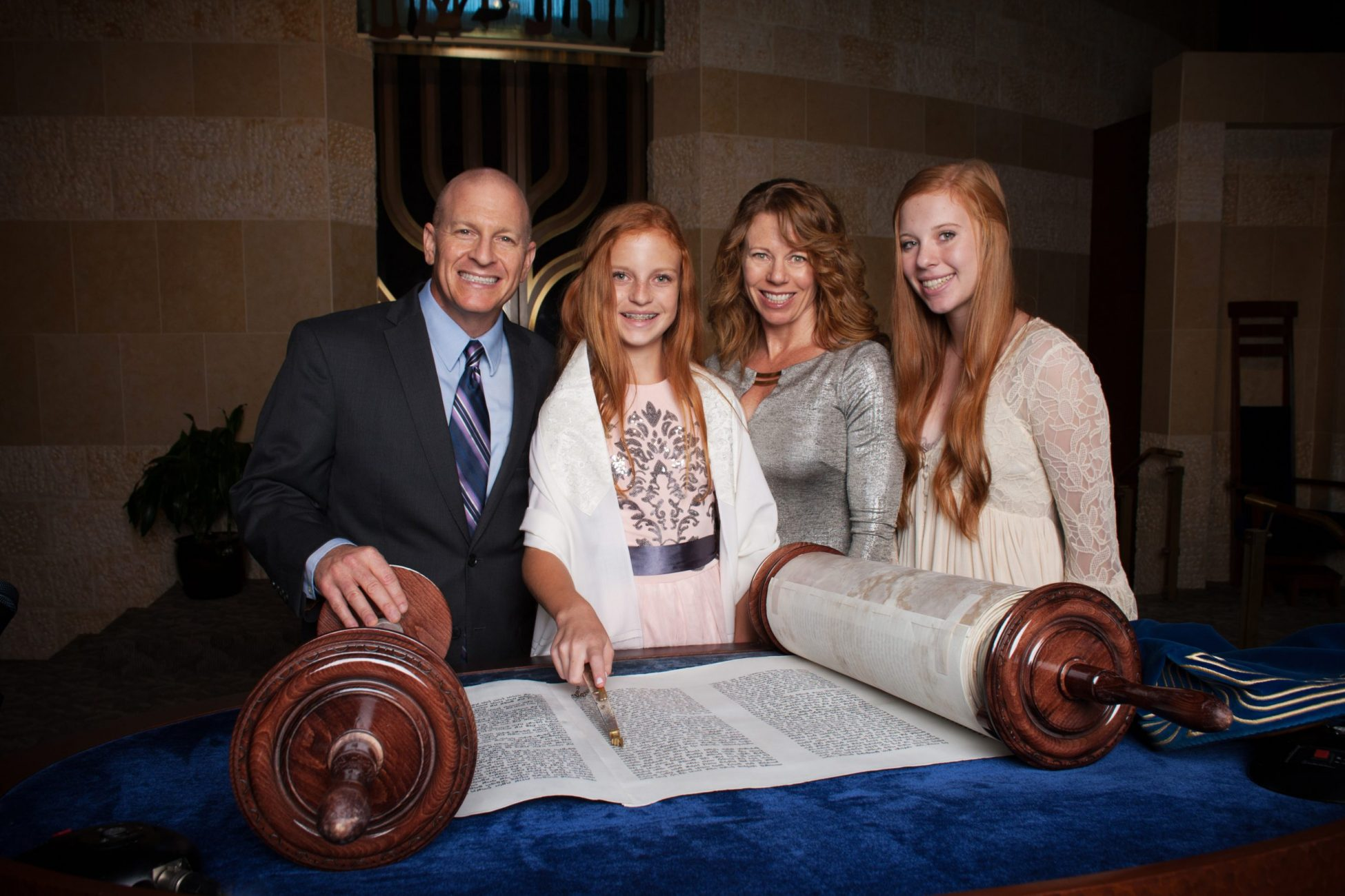 San Diego bat mitzvah girl at temple with her family