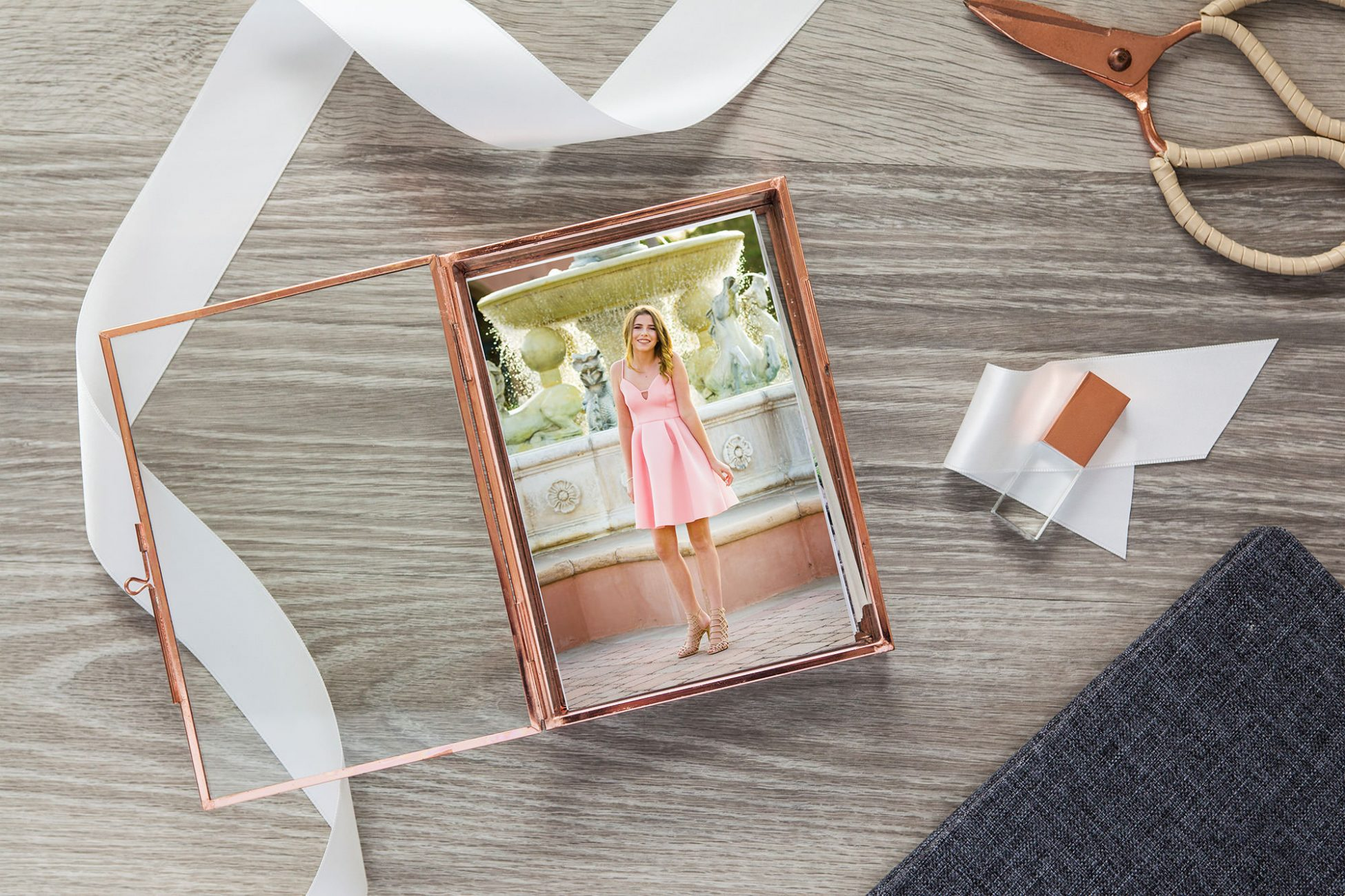 glass box holding portraits from a San Diego mitzvah