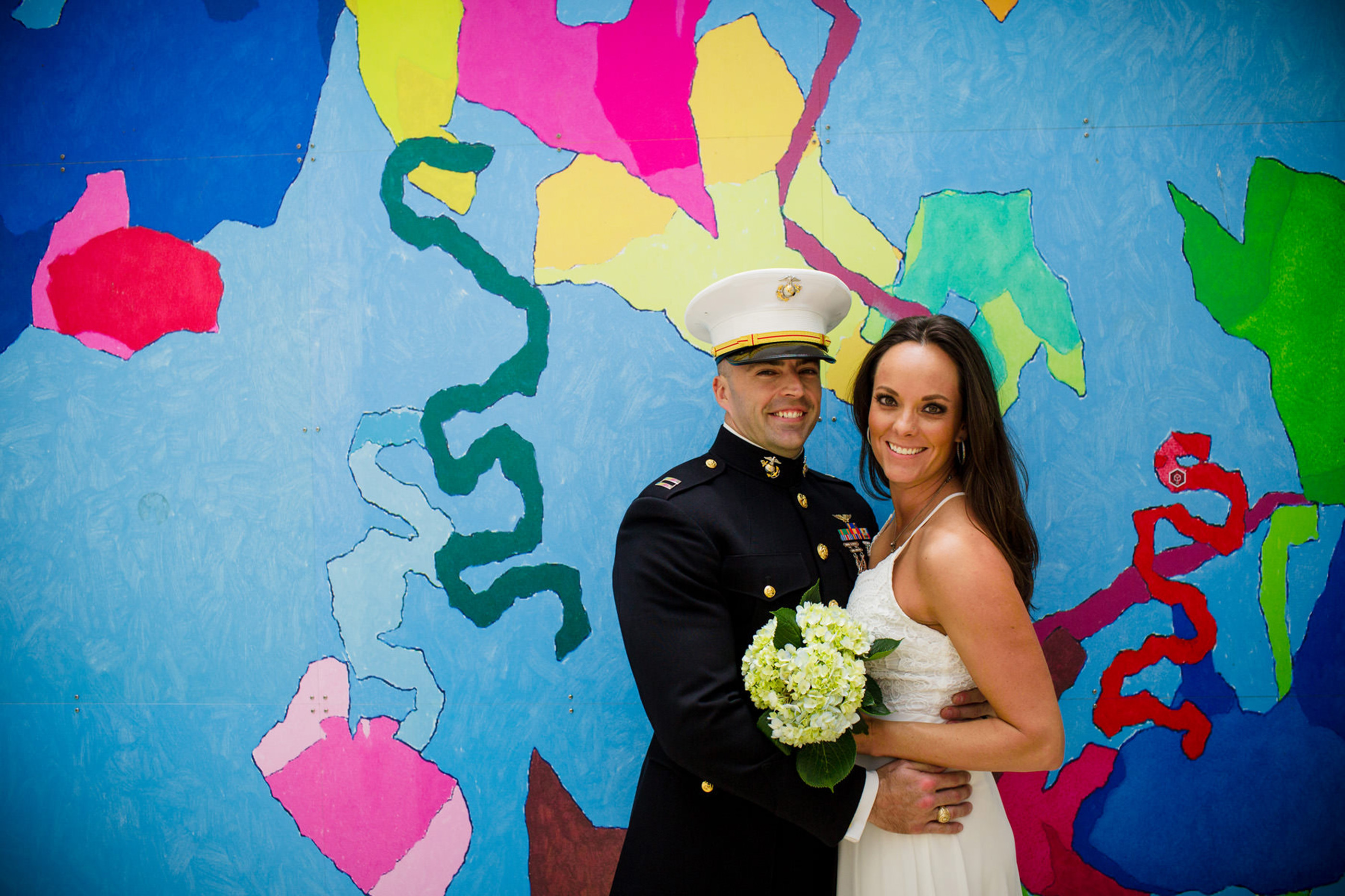 couple elope to San Diego for their civil ceremony downtown by the bay. Photo by Dennis Mock Photographer