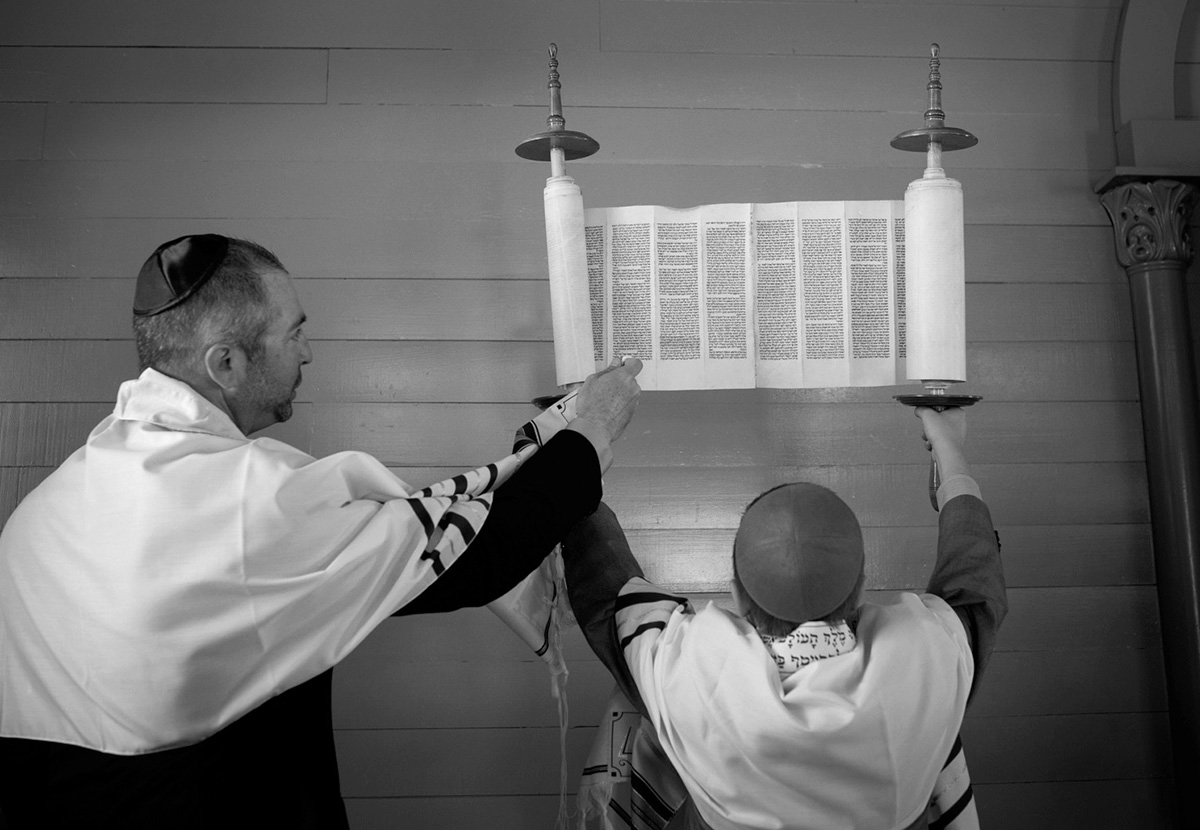 cool black and white image during bar mitzvah service in San Diego California