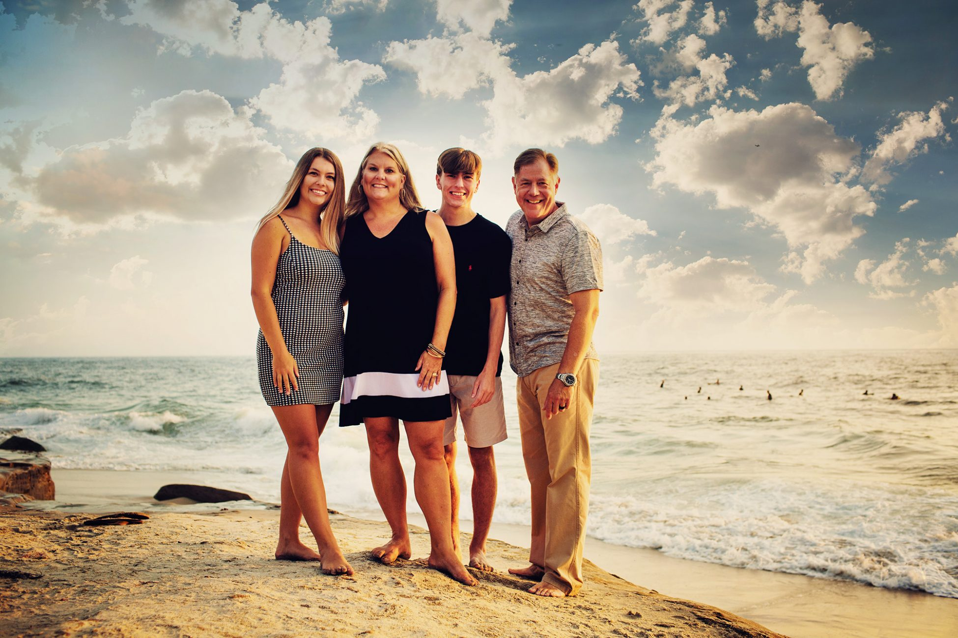 Beautiful San Diego family portrait at scenic windansea beach in La Jolla, California by dennis mock photographer.